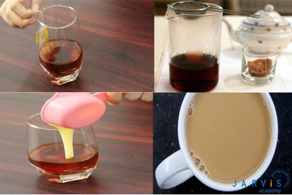 Các bước làm trà sữa socola bạc hà