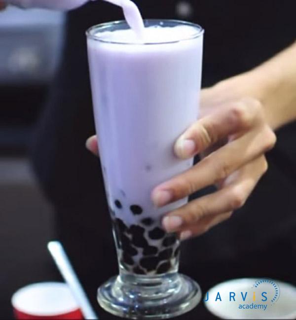 Trà sữa khoai lang tím có màu tím nhẹ